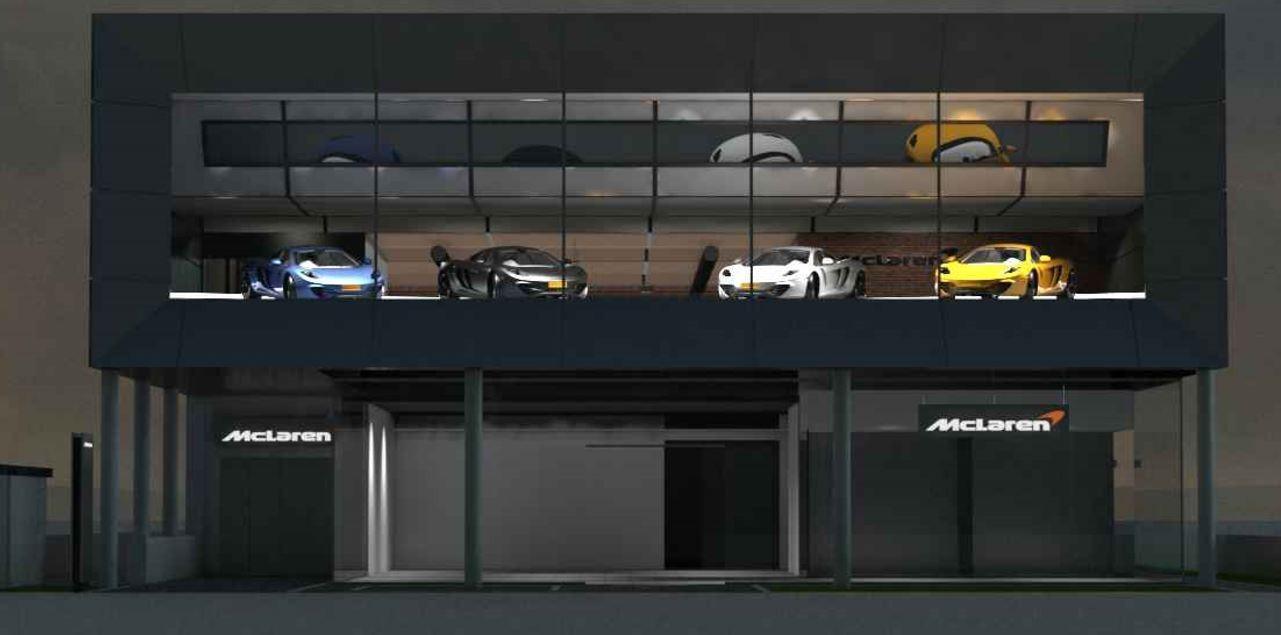 Nueva sede del concesionario Mc Laren en España. Nave industrial para concesionario Mc Laren